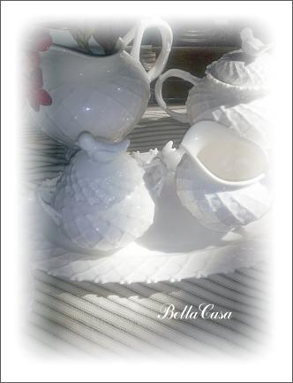 Tea set white bird 05